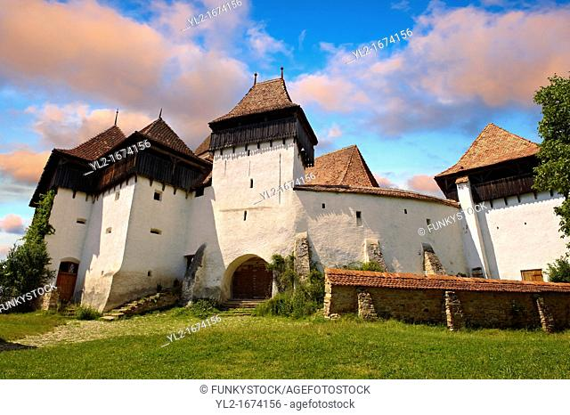 Front view of the Szekly medieval fortified church of Viscri, Bunesti, Brasov, Transylvania. Started in the 1100's. UNESCO World Heritage Site