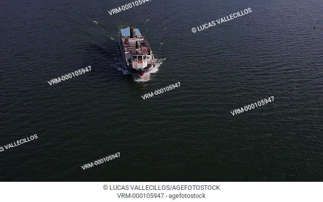 Tourist boat in Kawaguchi Lake,Kawaguchiko,Yamanashi prefecture, Japan
