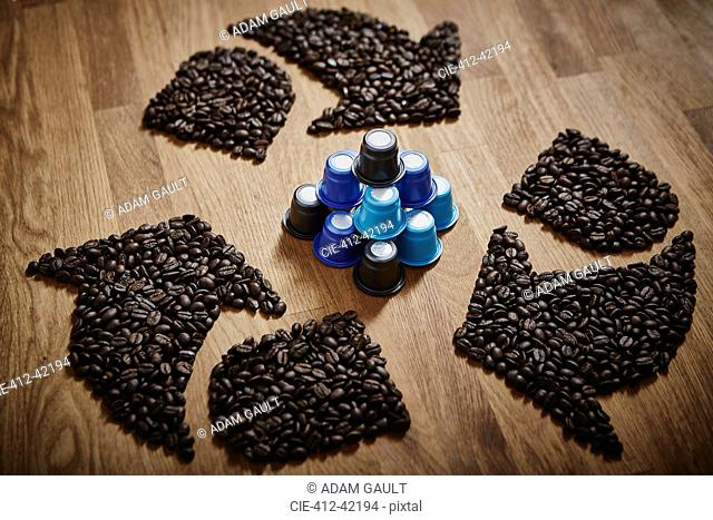 Coffee beans forming recycle symbol around plastic coffee pods