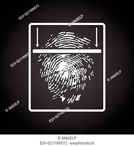 Fingerprint scan icon. Black background with white. Vector illustration