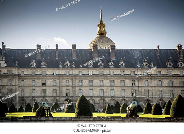 View of Les Invalides and formal gardens, Paris, France
