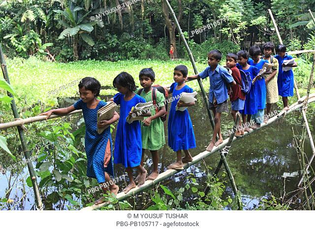 Rural school children back home through a mate-shift narrow pathway over a canal made of bamboo after breaking their school Manikgang, Bangladesh September 2008