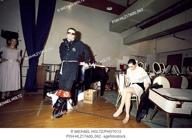 Fashion designer Karl Lagerfeld during a show for Chloé in Japan in 1977. Photo Michael Holtz
