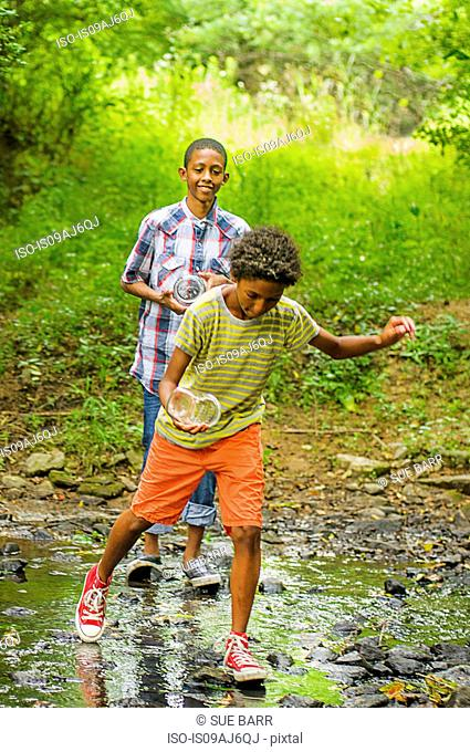 Two boys at edge of stream