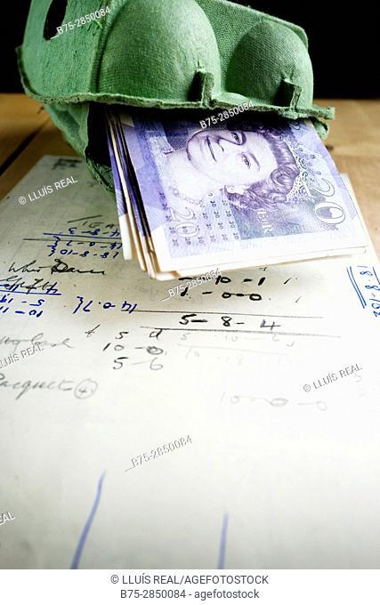 Huevera de carton con billetes de 20 libras esterlinas dentro sobre una mesa con una hoja de calculo. Buckden, North Yorkshire, Yorkshire Dales, Skipton, UK