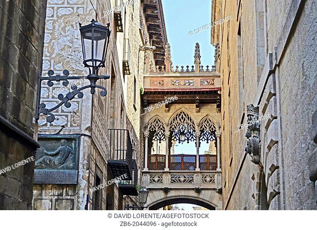 Bridge in the Carrer del Bisbe in Barri Gotic, Barcelona