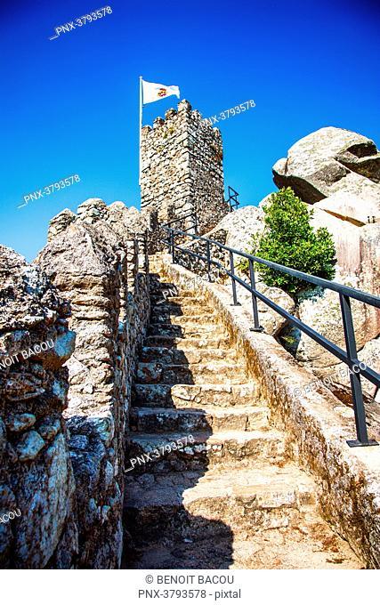 the wall of the Moorish Castle, Sintra, Lisbon area, Portugal