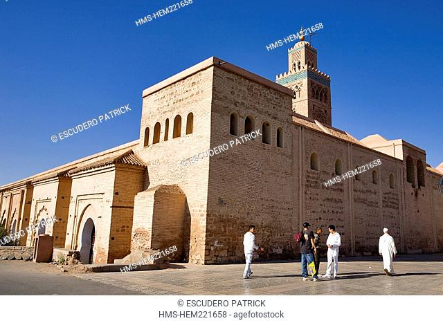 Morocco, Marrakesh, imperial city, medina listed as World Heritage by UNESCO, minaret and Koutoubia Mosque