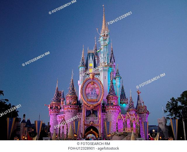 Orlando, FL, Florida, Walt Disney World Resort, Magic Kingdom Park, Cinderella Castle, colorful, evening (Editorial Use Only)