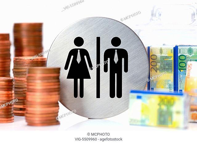 DEUTSCHLAND, HAMBURG, 25.03.2015, Piktogramme von Mann und Frau, Geldkoffer und Geldmuenzen, Lohnungleichheit - Hamburg, Germany, 25/03/2015