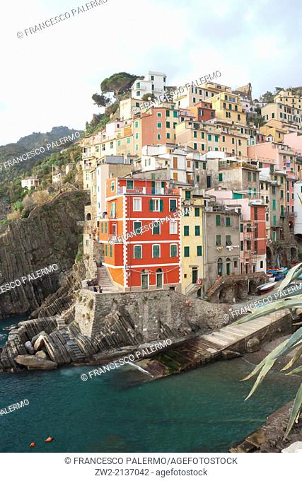 Characteristic Harbour on ligurian coast named five lands in winter time. Riomaggiore, Liguria. Italy