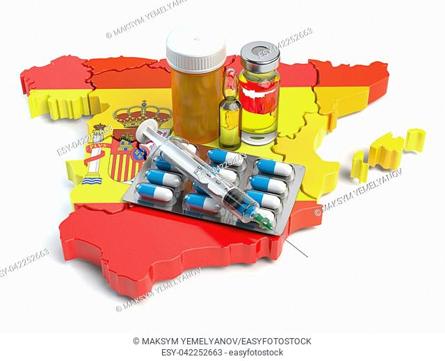 Health, healthcare, medicine and pharmacy in Spain concept. Pills, vials and syringe on the map of Spain isolated on white background. 3d illustration