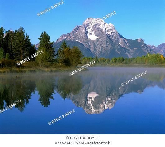 Mt. Moran in morning light from Oxbow Bend (Snake River), Grand Teton N.P., WY