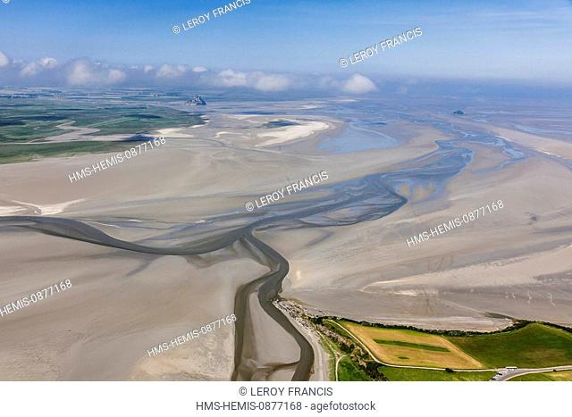 France, Manche, Vains, Le Grouin du Sud and the Mont Saint Michel Bay, listed as World Heritage by UNESCO (aerial view)
