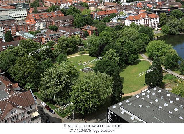 Germany, Kiel, Kiel Fjord, Baltic Sea, Schleswig-Holstein, panoramic view, Hiroshima Park, behind Justice Ministry, former Higher Regional Court, Kleiner Kiel