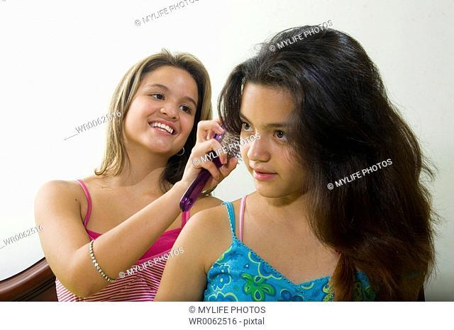 hairbrush and hair