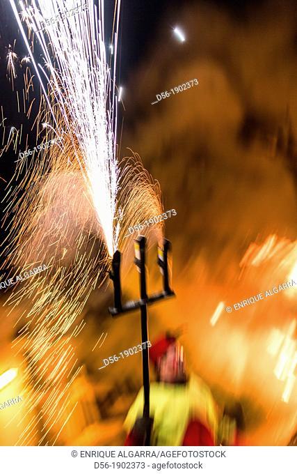 'Correfoc', typical catalan celebration in which devils armed with fireworks dance through the streets. San Antonio festival, Villafranca del Cid, Castellon