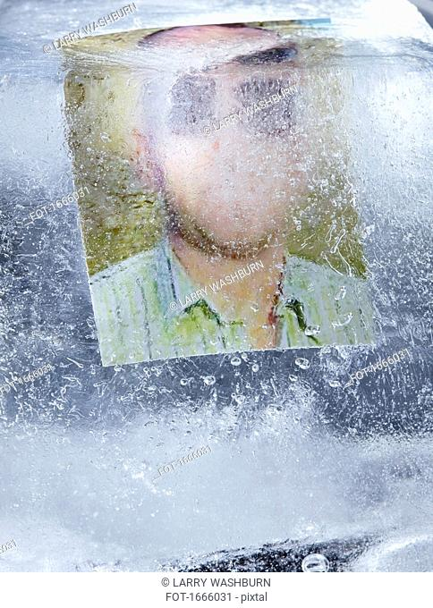 Photograph of man in ice