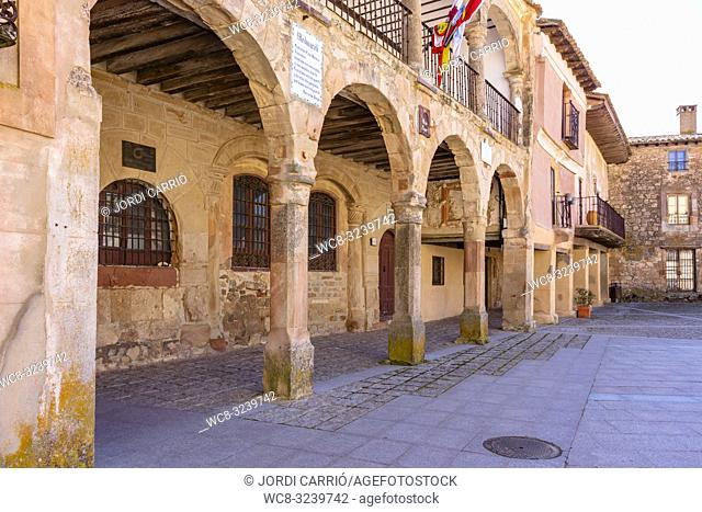 Medinaceli, Castilla y León, Spain: Old building La Alhóndiga where formerly commercial transactions were made, is currently the town hall of Medinaceli