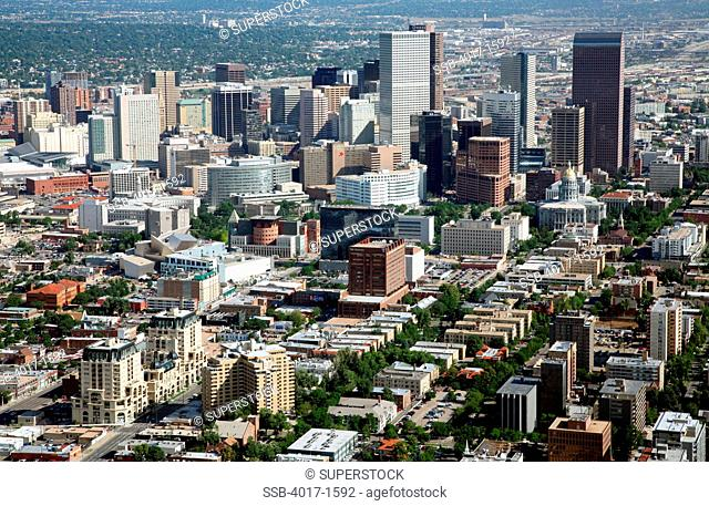 Aerial of the Golden Triangle district near downtown Denver