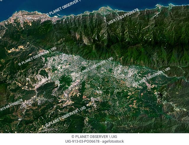 Colour satellite image of Caracas, Venezuela. Image taken on January 21, 2014 with Landsat 8 data