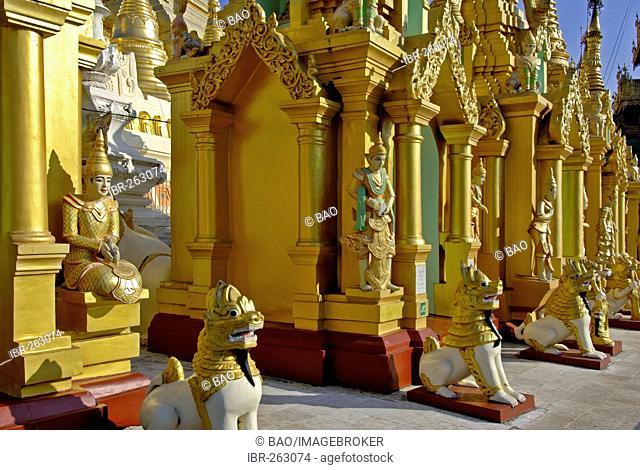Myanmar, Burma, the Shwedagon pagoda at Yangoon