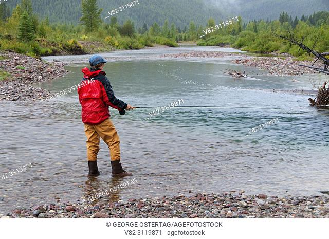 Flyfishing, Middle Fork Flathead Wild and Scenic River, Great Bear Wilderness, Flathead National Forest, Montana