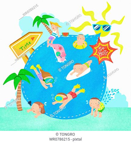 A illustration of people enjoying summer vacation in water