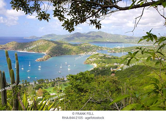 View of English Harbour from Shirley Heights, Antigua, Leeward Islands, West Indies, Caribbean, Central America