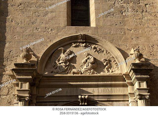 Tympanum at the main facade, Iglesia Mayor de la Encarnacion, former Collegiate Church at Loja, XVI - XVII Centuries, in Gothic-mudejar style with Neoclassical...