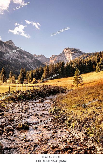 Landscape with valley river and mountains, Bavaria, Germany