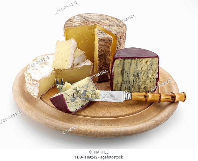 British cheeses on cheese board