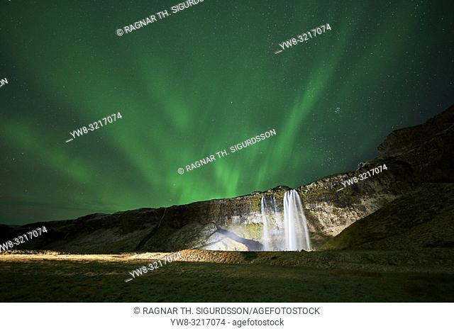 Seljalandsfoss Waterfall and Aurora Borealis, Iceland
