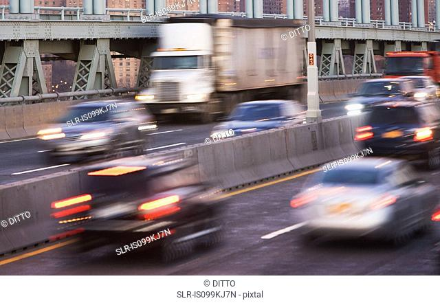 Traffic on Triborough bridge, New York City, USA