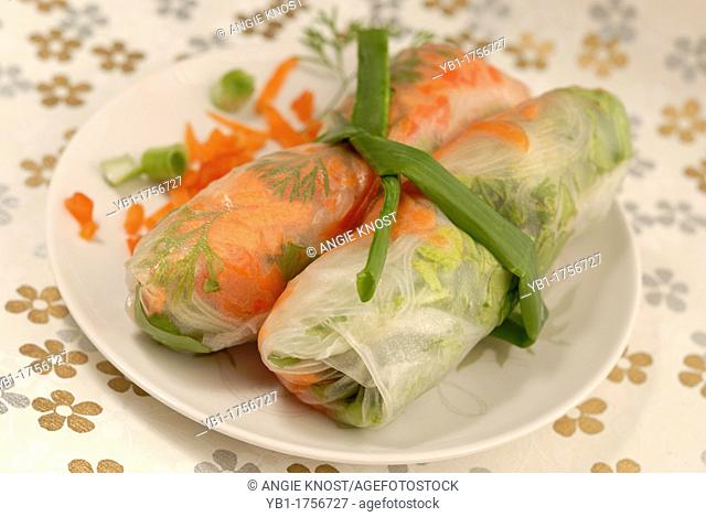 Vietnamese style Spring Rolls, garnished and tied together with a green onion  Vegetarian and Vegan