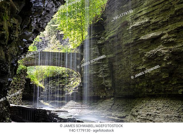 Steep rocky gorge and waterfalls in Watkins Glen State Park in the Finger Lakes region of New York State