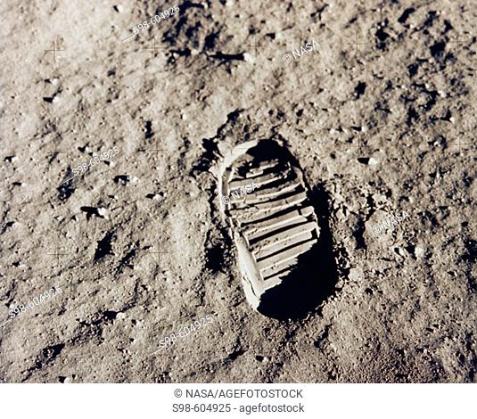 One of the first steps taken on the Moon, this is an image of Buzz Aldrin's bootprint from the Apollo 11 mission. Neil Armstrong and Buzz Aldrin walked on the...