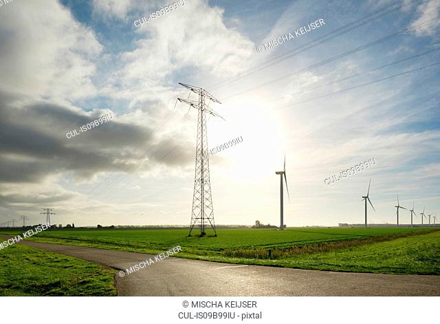 Wind turbines early in the morning, Rilland, Zeeland, Netherlands, Europe