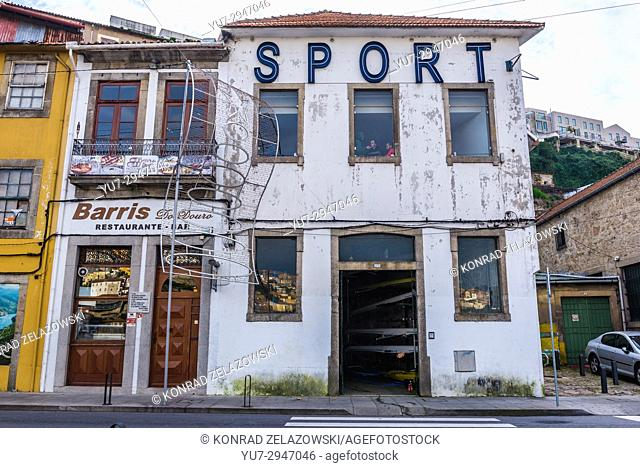 Old buildings with Sport rowing club on Diogo Leite Avenue in Vila Nova de Gaia city of Portugal