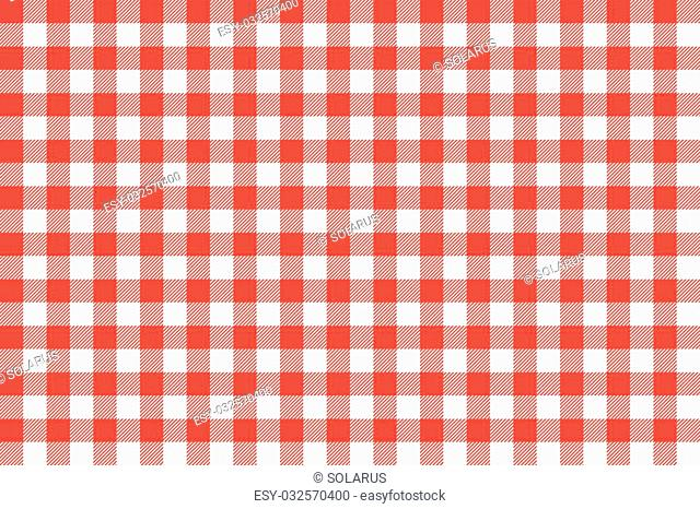 Tablecloth background red seamless pattern. Vector illustration of traditional gingham dining cloth with fabric texture. Checkered picnic cooking tablecloth