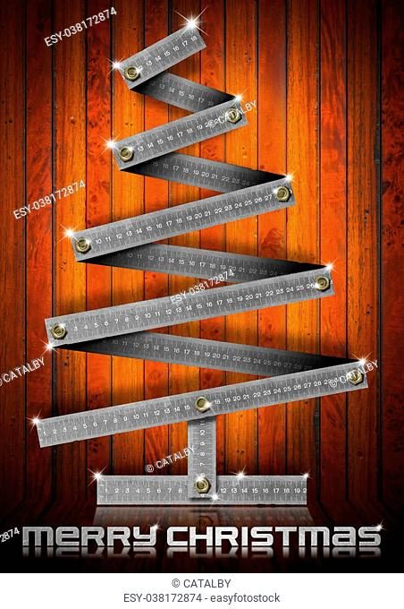 Metallic Christmas tree with bolts heads on wood background