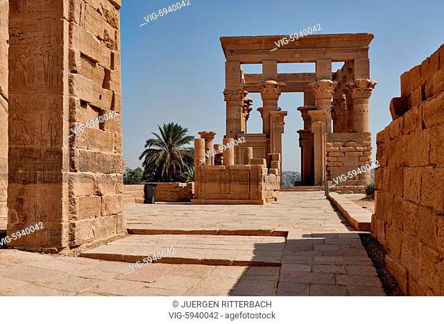 EGYPT, ASWAN, 10.11.2016, Trajan's Kiosk ptolemaic temple of Philae, Aswan, Egypt, Africa - Aswan, Egypt, 10/11/2016