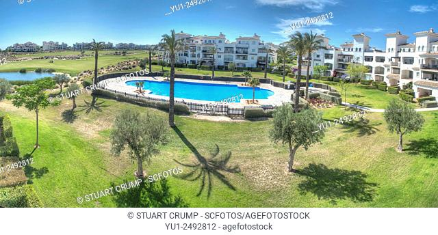 HDR of Pool area on the golf resort at Hacienda Riquelme in Murcia, South Eastern Spain