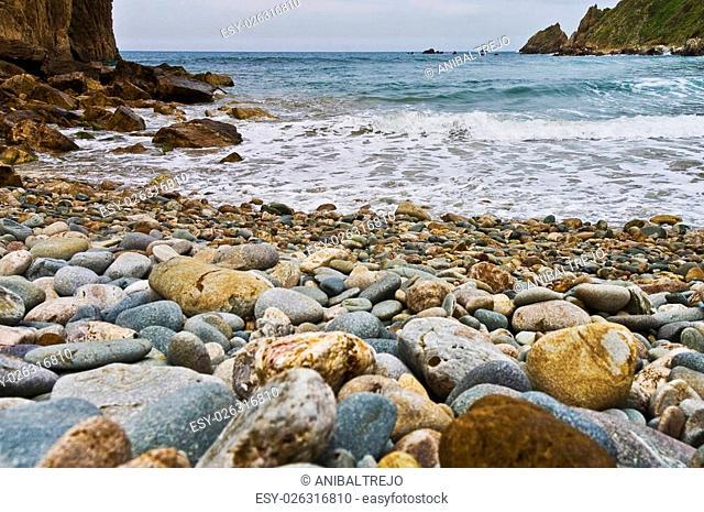 Rocks on Xilo beach located near Aviles, Spain