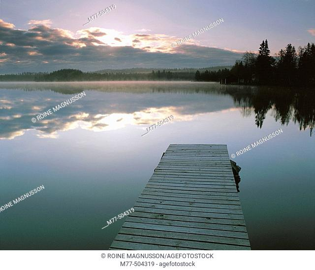 Bridge in the lake, summer morning, fog, water, calm lake. Lake Grecken. Västmanland. Sweden