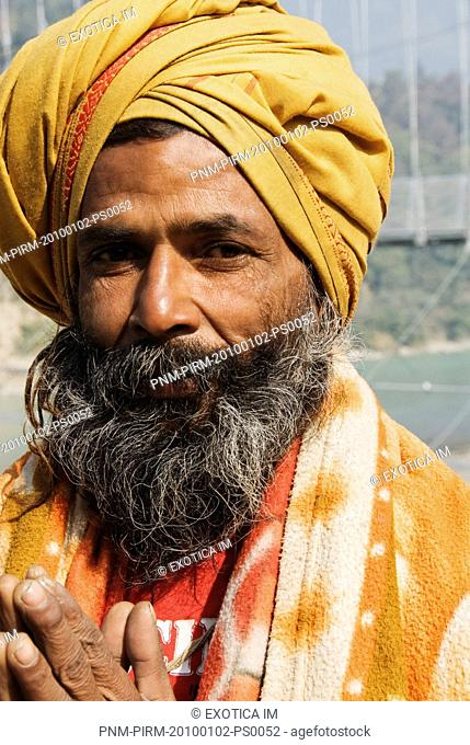 Close-up of a sadhu praying, Rishikesh, Dehradun District, Uttarakhand, India