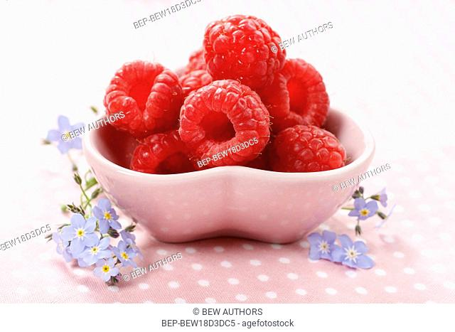 Kids party: bowl of fresh raspberries