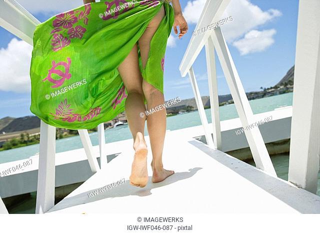 Rear view of a woman walking on a pier