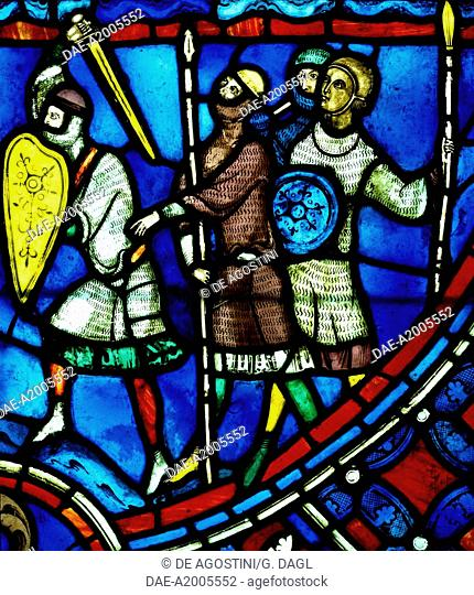 The invasion of Rheims by the Vandals, scene from History of St Nicasius and his sister St Eutropia, 1210-1220, stained-glass, Soissons Cathedral, Picardy