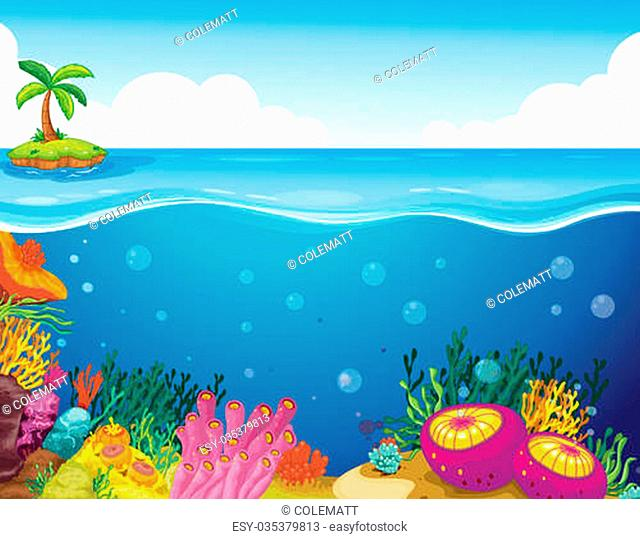 illustration of palm tree and coral in a deep sea water